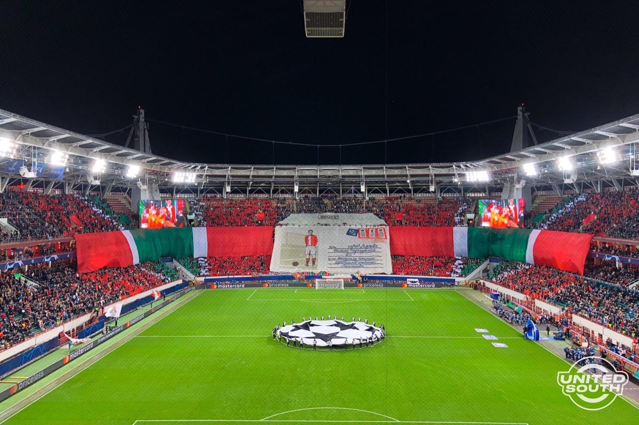 Перформанс фанатов Локомотива, Локомотив - Атлетико Мадрид