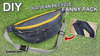 DIY Old Jeans Fanny Pack | Recycle old jeans to sling bag [sewingtimes]