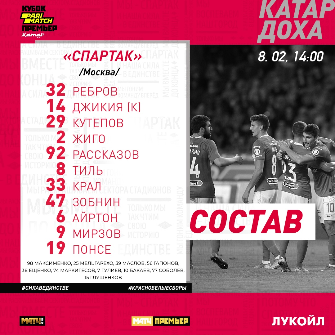 Состав «Спартака» на матч с «Партизаном»