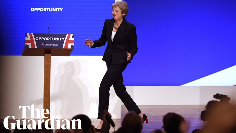Theresa May dances on to the stage at the Tory party conference