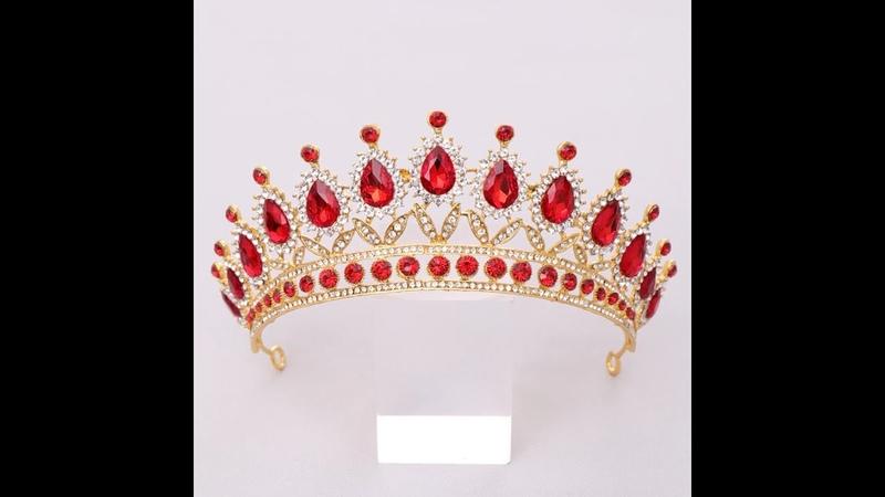 Роскошные красные стразы хрусталь свадебная корона невесты диадема и короны королева свадебные