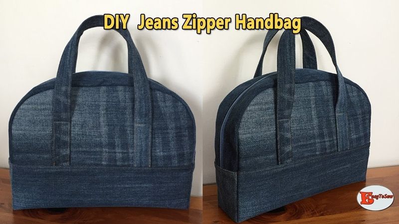 DIY JEANS ZIPPER HANDBAG RECYCLE OLD JEANS BAG HANDBAG OUT OF OLD JEANS SEWING TUTORIAL