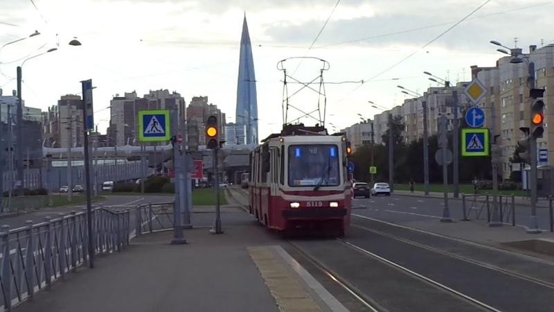 На 48 трамвае по зеленой улице Савушкина Петербурга 10-*** ЛВС-86К б.5119 по №48 (08.08.20)