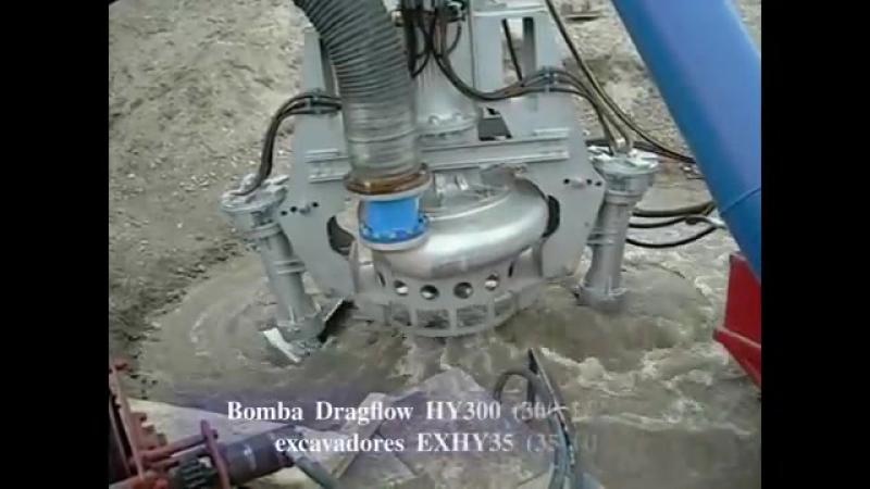 Extracción de arena y gravas con bomba DRAGFLOW HY300 300 HP y 2 excavadores EXHY35 35 HP