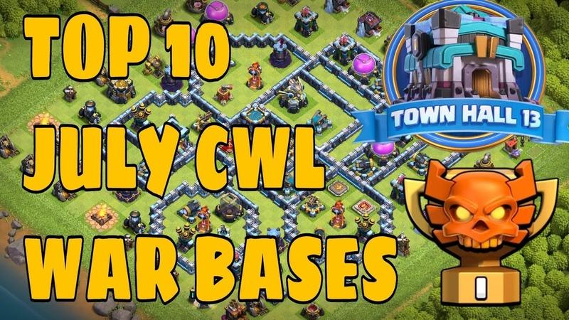 Top 10 July CWL War Bases!! Th13 Best War Bases !! Links below. clashofclans