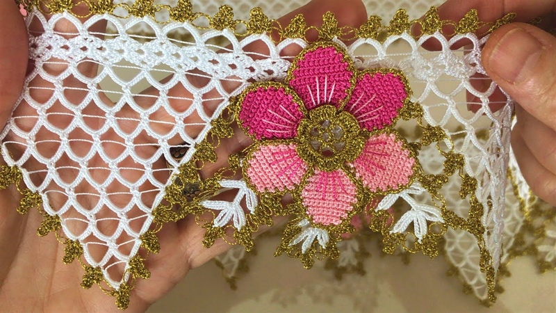 Sık İğneli Çiçekli Havlu Kenarı Modeli Alt Kısmının Yapılışı