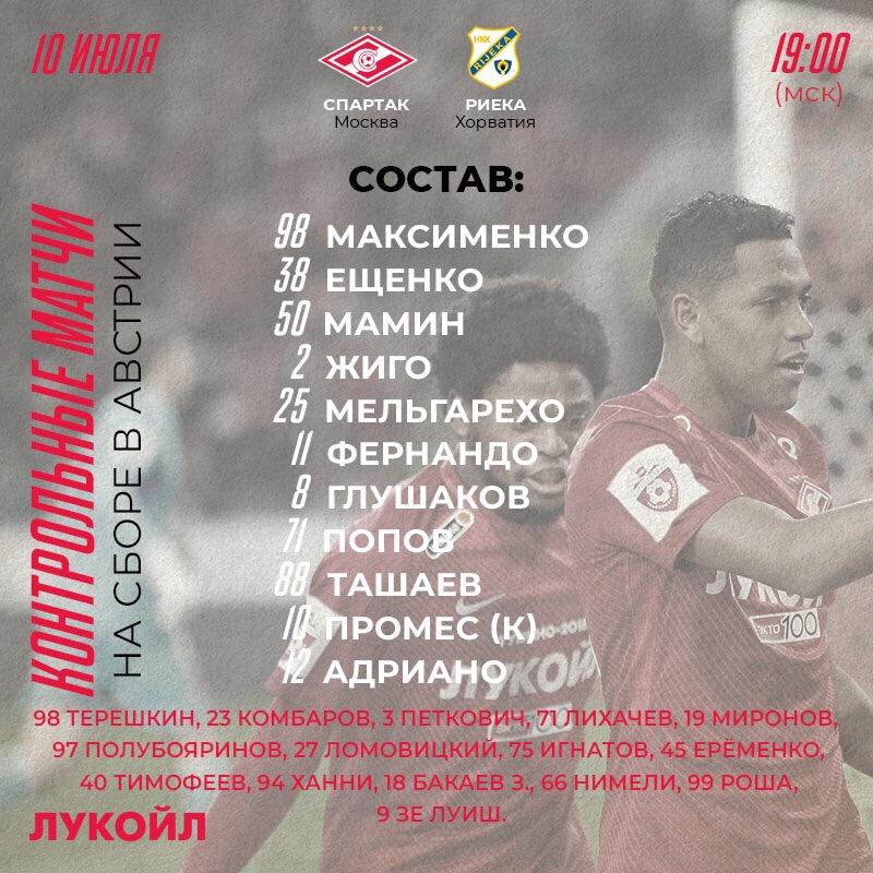 Состав «Спартака» на контрольный матч с «Риекой»