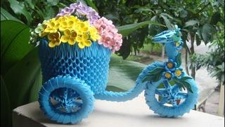 How To Make 3D Origami Tricycle Flower Basket | Cómo hacer una cesta de flores triciclo origami 3D