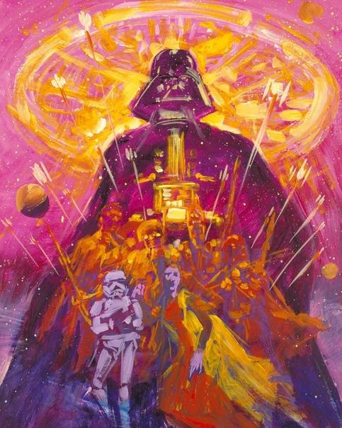 Арт-постер космической оперы «Империя наносит ответный удар»