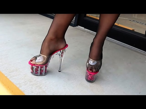Review Walking In Pleaser Adore 701FL Hot Pink Rose Filled Clear 7 Inch High Heel Slide Shoes