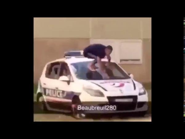 Französisch Polizei beim Versuch d Durchsetzung v Corona Maßnahmen in 'kulturSensiblen' Stadtteilen