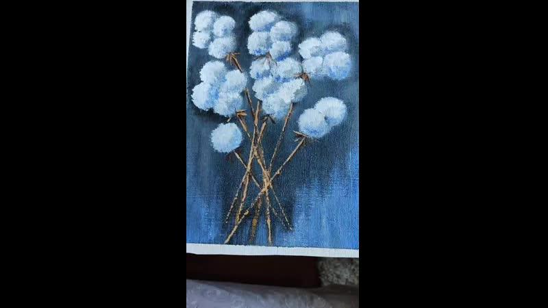 рисуем цветы губкой и мастихином