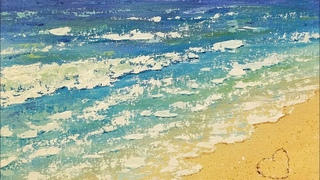 Easy BEACH Waves Acrylic Tutorial for Beginners How to Paint with Palette Knife